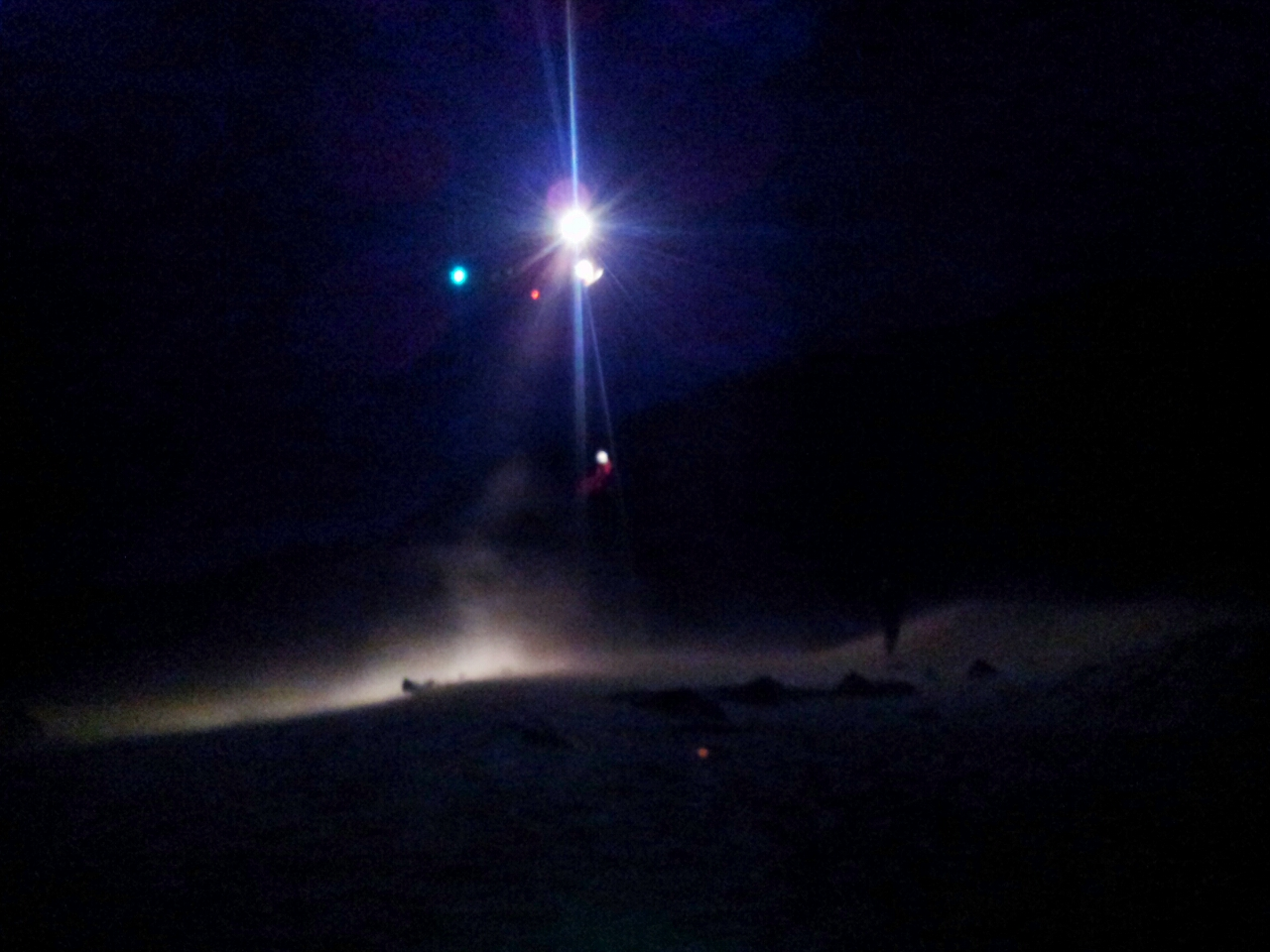 Rescue helicopter coming in at night, lights on and sand blowing up all around