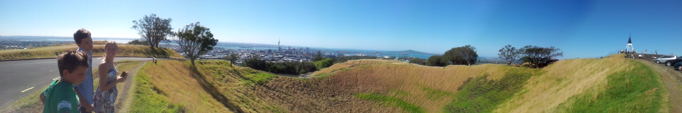 Panoramic View volcanic crater with Auckland in the background